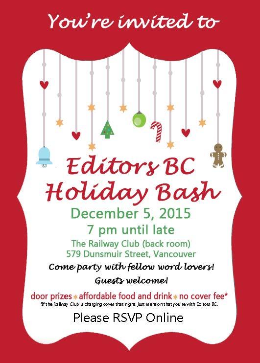 Editors BC 2015 Holiday Party Invitation