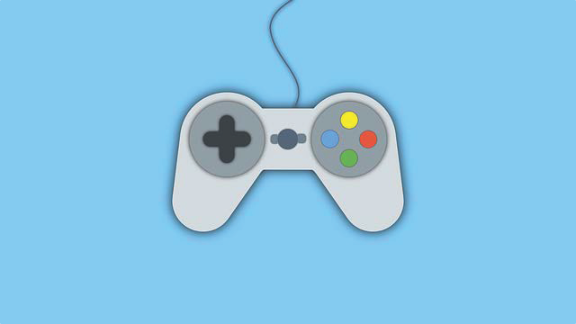 A graphic of a video game controller that resembles a controller for a PlayStation or Xbox console is shown over a light blue background.
