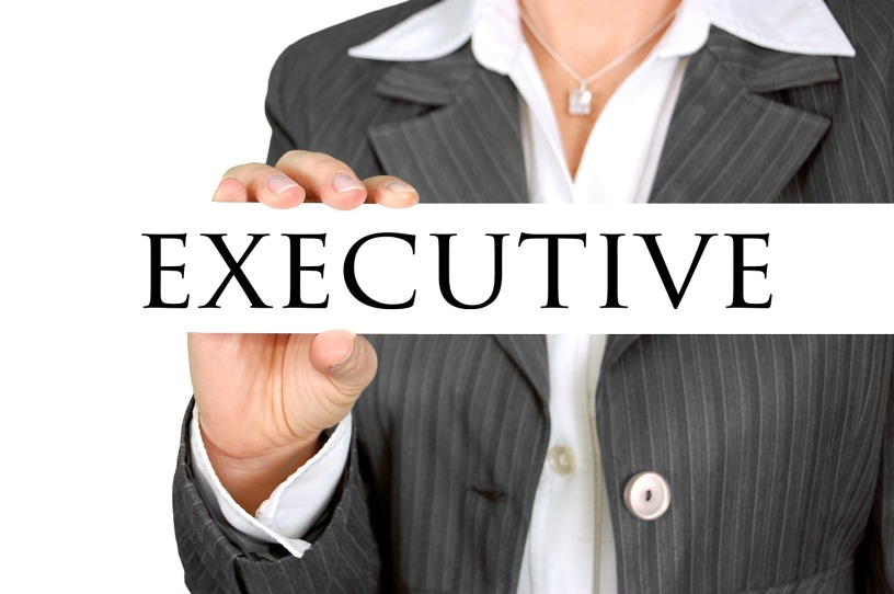 "A woman's torso is in partial view so you can see her hand holding the word ""executive"" in capital letters."