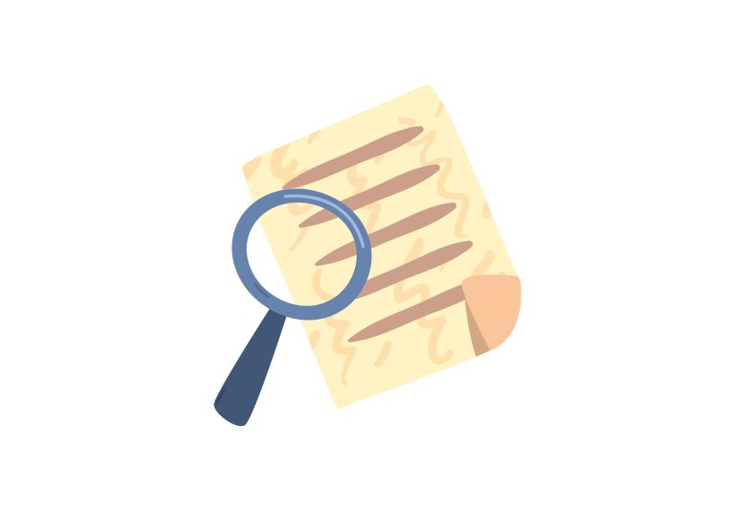A cartoon of a blue magnifying glass hovers over a yellow document with several horizontal lines.