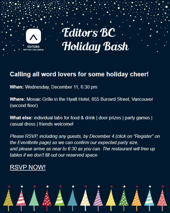 An invitation to RSVP for Editors BC's 2019 holiday bash on December 11 at 6:30 pm is set against a dark blue sky background with stars at the top and colourful cartoon trees at the bottom.